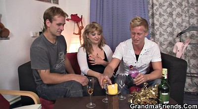 Mommy, Old and young, Take, Mature threesome, Granny swallow