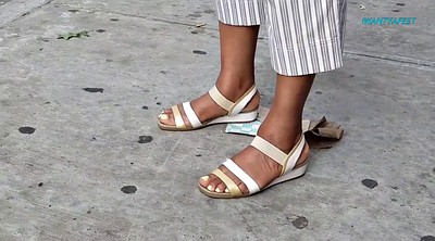 Bus, Stop, Candid, Foot feet, Ebony feet, Candid feet