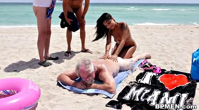 Teens, Old men, Granny gangbang, Beach blowjob