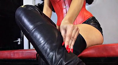 Leather, Foot licking, Milf boots