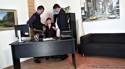 Mature, Stocking, Office lady, Young threesome