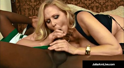 Julia ann, Cum in mouth, Black pantyhose