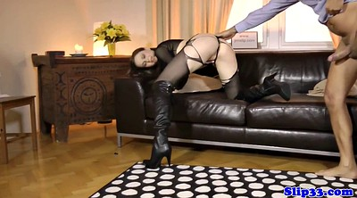 Boots, White, Torn, Boot, White pantyhose, Tit fuck
