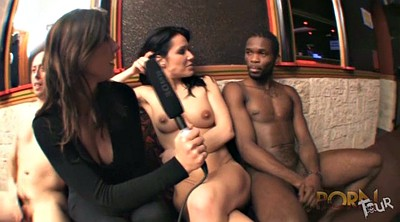 Interracial anal, French threesome