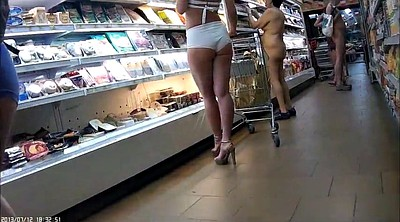 Shop, Naked, Mature public, Public mature, Mature outdoor, Shopping
