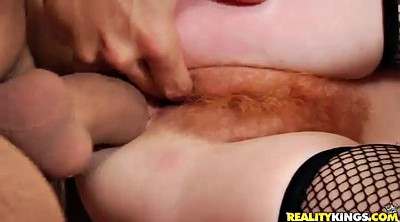Red milf, Hairy pussy, Double anal, Red hair