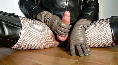 Glove, Gloves, Leather, Glove handjob, Dressed, Latex cum