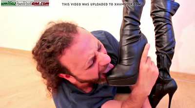 Boots, Humiliation, Italian mature, Foot job, Boot