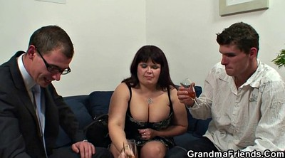 Mommy, Huge boobs, Young dude, Old granny, Mature threesome