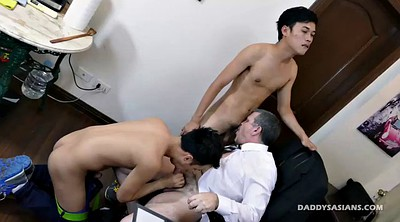 Office, Asian granny, Old dad, Asian daddy, Young old gay, Office granny