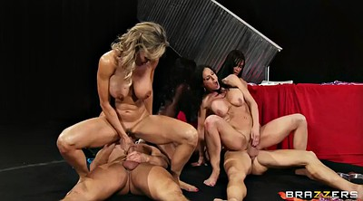 Busty, Vixen, Sitting, Group swallow, Face