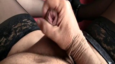 Nylon handjob, Stockings masturbating