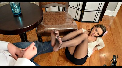 Pantyhose footjob, Black pantyhose, Office footjob
