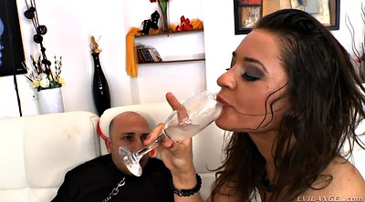 Mistress, Femdom blowjob, Drink pee, Fishnets, Drink