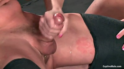 Pain, Man, Slaves, Painful, Orgasm face, Mistress handjob