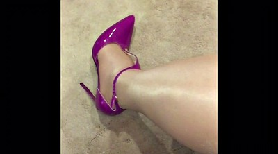 Pantyhose, Shiny pantyhose, Tight dress, Purple, Pantyhose heels