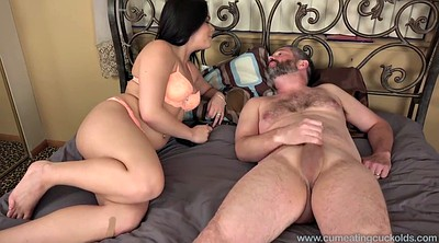 Wife, Husband watch, Cum eating, Cuckold eat