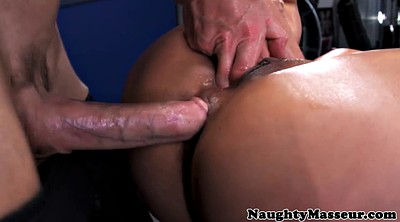 Oil, Oil massage, Masturbating, Big tit anal