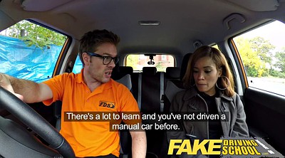 School, Fake, Fake driving school, Ebony creampie, Fake drive
