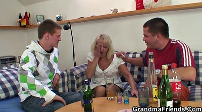 Grandmother, Mature party, Mature blonde, Blonde granny, Threesome party, Young party