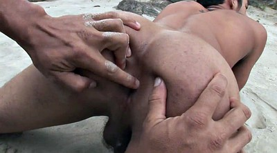 Beach fuck, Gay beach, Tanned, Gay young