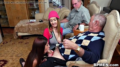 Peeing, Grandfather, Teen threesome, Old young threesome