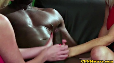 Cfnm handjob, British threesome, British interracial, Tugs, Interracial ffm, British handjob