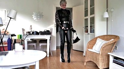 Boots, Mature tranny, Leather