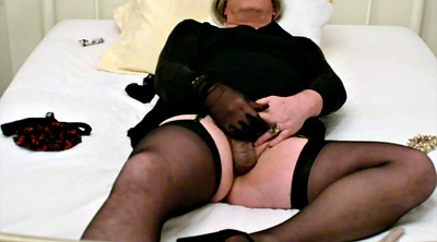 Tied, Black stockings, Self bondage, Ebony bondage, Cum stockings, Cum stocking