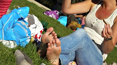 Sole, Candid, Feet fetish, Park, Dirty foot
