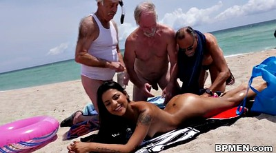Grandpa, Old grandpa, Nikki, Beach sex, Grandpa granny, Old threesome