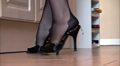 Nylon foot, Black, Nylon foot fetish, Black nylon