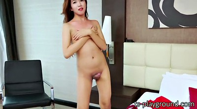 Shemale solo cumshot, Asian shemale