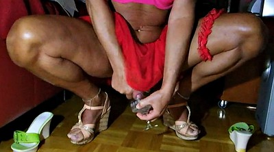 Skirt, Cd, Highheel, Shemale cums, Red, Drink