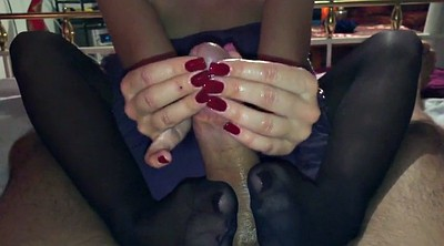 Footjob, Nylon feet, Nylon handjob, Nylon footjob