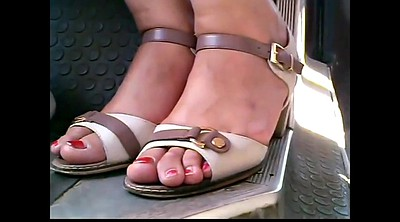Bus, Candid, Mature feet, Closeup, Mature outdoor