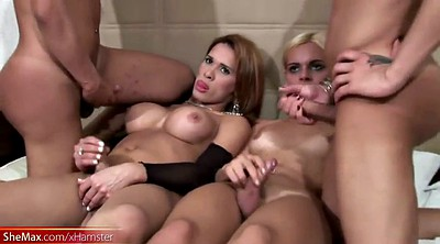 Surprise, Tgirl, Shemale cums, Shemale on shemale, Shemale surprise, Shemale gangbang