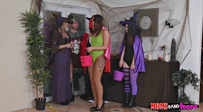 Halloween, Threesome milf, Cougars, Trick threesome, Or, Tricks
