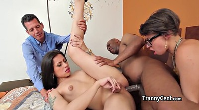 Shemale, Threesome shemale, Shemale group, Interracial threesome