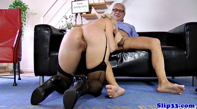 Young and old, Highheel, Granny sucks, Granny lingerie