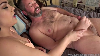 Husband, Eat cum, Wife watching husband, Watch