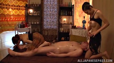 Oiled, Milf threesome, Asian guy, Milf massage