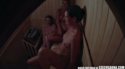 Hidden masturbation, Girl, Three, Sauna