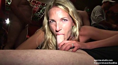 Gangbang, German creampie, Cum in mouth
