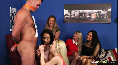 Naked, Group handjob, Cfnm cumshot