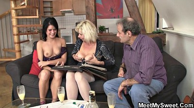 Mature threesome, Mom teach, Teaching