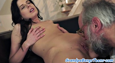 Old and young, Granny small tits, Granny creampie