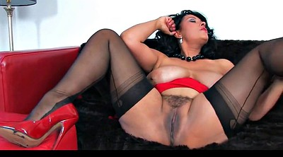 Heels, Red, Danica, Black stocking, Stockings milf, Danica collins