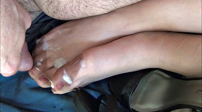 Nylon cum, Shoe, Stocking, Cum on foot
