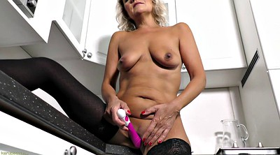 Lingerie, Granny solo, Shaving, Kitchen sex